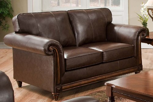 Simmons San Diego Coffee Leather Loveseat