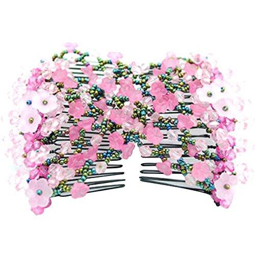 Contever® Magico Multi-funzione Doppio Pettine Decor per Capelli Fiori Stile Europeo Ideale per Matrimoni, Sposa, Partito (Rosa)
