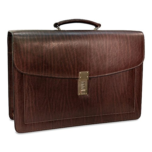 Jack Georges Belting Triple Gusset Leather Briefcase w/Combination Lock in Brown