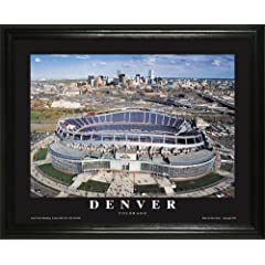 Denver Broncos - Invesco Field at Mile High Aerial - Lg - Framed Poster Print by Laminated Visuals