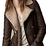 2013 Women Lady Suede Lamb Fur Long Double Breasted Trench Coat Jacket SuiT by NYC Leather Factory Outlet