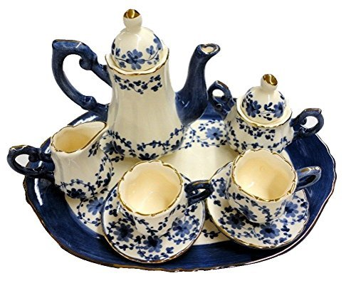 Childrens 10 Piece Mini Tea Set for Two, Blue Garland