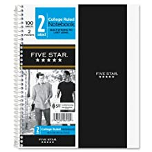 Five Star Wirebound Notebook, College Rule, 6 x 9-1/2, White, 100 Sheets/Pad (06180)