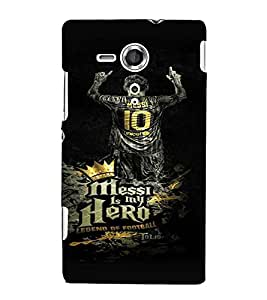 PrintVisa Messi Hero Football 3D Hard Polycarbonate Designer Back Case Cover for Sony Xperia SP