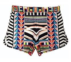 Women Ladies Celeb Inspired J Lo Aztec Stripe Multi Print Celebrity Short Hot Pant