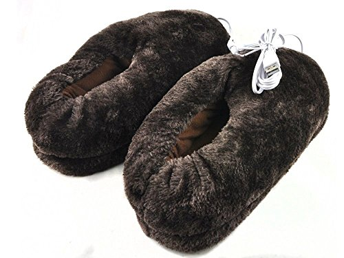 Lifemall 2014 New Design Cute Plush USB Laptop PC Electric Heating Slippers Heated Shoes Foot Warmer (Coffee).