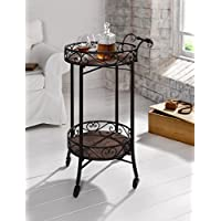 Dark Brown 2-Tier Portable Metal Kitchen Serving Cart / Wine Bar w/ Casters Product SKU: HD223571
