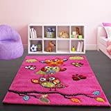 Kids Carpet Cute Owls Modern Children Rug in Pink Fuchsia Green Blue, Size:80x150 cm