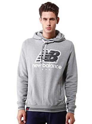 New Balance Felpa Hooded Big Logo (grigio)