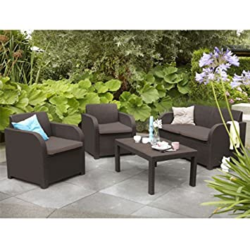 Allibert Montpellier Brown Rattan Outdoor Garden Furniture Set with Cushions