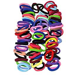 Lolitarcrafts 90pcs 8mm Mix Colors Girls Elastic Hair Ties Bands Rope Ponytail Holders Headband Scrunchie Hair Accessories