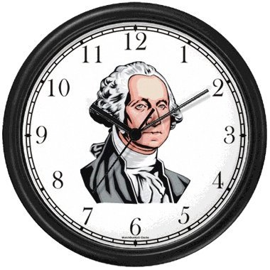 President George Washington Americana Wall Clock by WatchBuddy Timepieces White Frame