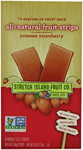 Stretch Island All Natural Fruit Strips, Strawberry, 8-Count Strips (Pack of 6)
