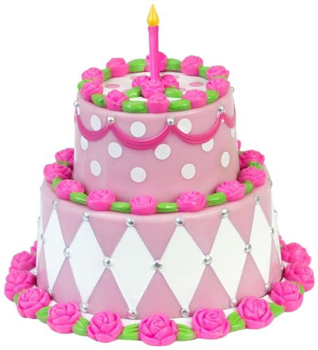 "Sophia's Miniature Two Tiered Cake, Sized for 18"" Dolls Detailed Pink Birthday Cake"