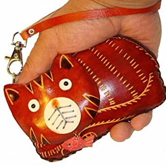 Leather Cat and Fish Coin Purse