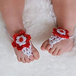 Tinksky Newborn Toddlers Baby Infant Girls Handmade Crochet Barefoot Sandals Flower Shoes