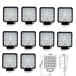See AnntTM 10 PACKS 48W-16LEDS Flood Beam 60 Degree LED Work Light Lamp Off Road Offroad Light Waterproof Driving Light Truck for Marine Boat Camping Jeep Cabin Tractor Car SUV UTV ATVs Tanks Crane Details