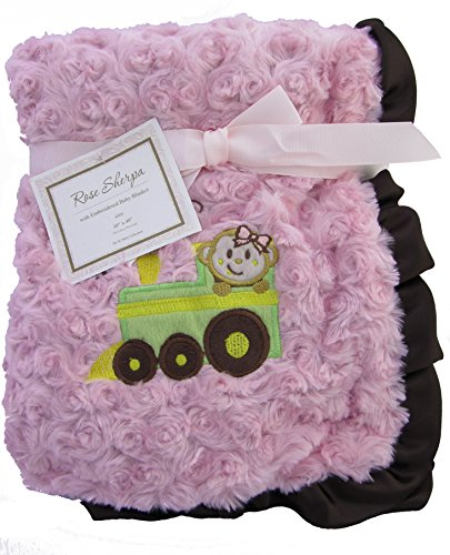 "Embroidered ""Choo Choo Train Girl"" Soft Plush Reversible Blanket - 1"