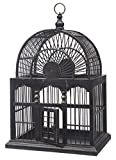 "18"" Elaborate Black & Gold Decorative Wooden Birdcage"