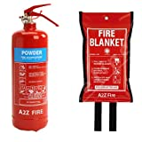 2kg Powder Home Fire Extinguisher & Fire Blanket from A2Z Fire - Premium Home Safety Kit With 5 year Warranty & Kitemarked to BS EN3, BSEN1869:1997 & CE Approved