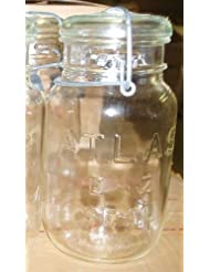 Antique Atlas E-Z Seal Quart Canning Jar with Wire Bail and Glass Lid by E-Z Seal