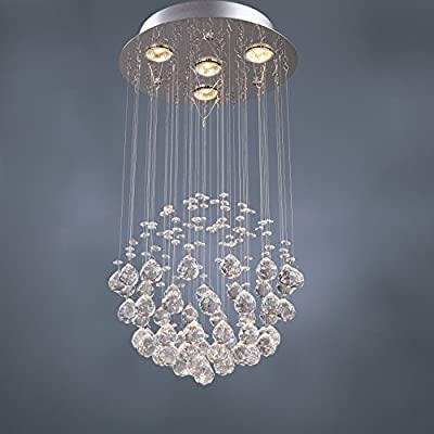 (Ship from USA) 4 Lights Modern Crystal RainDrop Chandelier Pendant Light Ceiling Lamp Lighting /ITEM NO#E8FH4F85459407