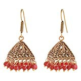 Ganapathy Gems Oxidised Brass Plated Jhumki With Pink Drops (8037) 8037