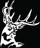 Deer Buck Antlers Hunting Car Truck Window Bumper Vinyl Graphic Decal Sticker- (12 inch) / (30 cm) Tall GLOSS BLACK Color