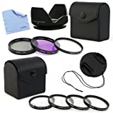 BIRUGEAR 52mm Flower Hard Lens hood w/ Lens Cap and Filter Accessory Kits + Cloth for Nikon D5500 D5300 D3300 D800 D3200 D3100 D5100 D3000 D5000 D7000 Digital SLR Camera (which use 18-55mm f/3.5-5.6G. 55-200mm f/4-5.6G Lenses)