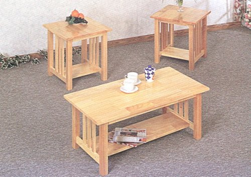 Buy low price 3pc mission style light oak finish wood for Light wood side table