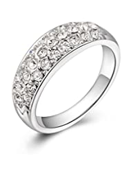 Kaizer Three Row Sparkling 18k White Gold Plated Ring For Women