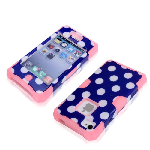 Magicsky Plastic + Silicone Hybrid Blue Polka Dot Pattern Active Glow Case For Apple Iphone 4 4S 4G - 1 Pack - Retail Packaging - Baby Pink/Dark Blue