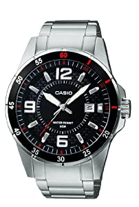 Casio Men's Quartz Watch with Black Dial Analogue Display and Silver Stainless Steel Bracelet MTP-1291D-1A1VER