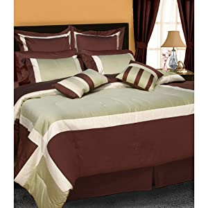 Tribeca Living Vienna 8-Piece Luxury Patchwork Cotton Comforter Set, Full