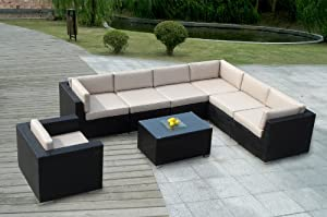 Genuine Ohana Outdoor Patio Sofa Sectional Wicker Furniture 8pc Couch Set With Free Patio Cover by Ohana