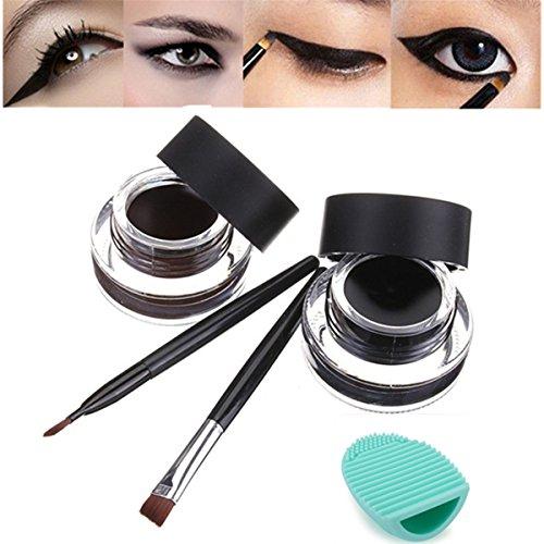 LuckyFine 4Pcs Maquillage Waterproof Eyeliner Gel Crème Yeux Cosmétiques Noir Marron Avec Pinceaux + 1Pcs Vert Silicone Egg Outil de Nettoyage Pour Pinceaux de Maquillage