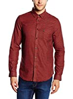 Ben Sherman Camisa Hombre Ls Brushed Gingham Twill (Rojo)