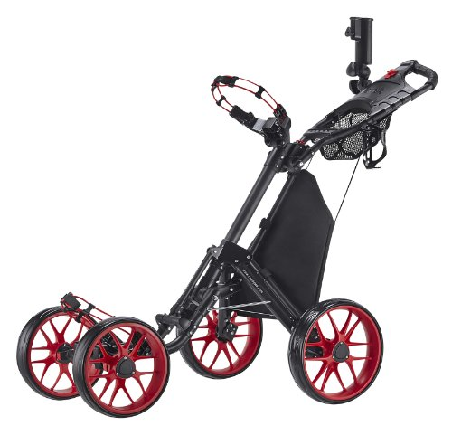 CaddyTek One-Click Folding 4 Wheel Version 3 Golf Push Cart, Red (Push Pull Golf Cart compare prices)