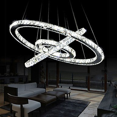 LED Crystal Pendant Chandelier Lighting Transparent Crystal Round 3 Rings Cool White Ceiling Lamps Fixtures D405060CM Cool White