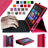 Fintie Folio Case for Microsoft Surface RT / Surface 2 10.6 inch Tablet Slim Fit with Stylus Holder (Does Not Fit Windows 8 Pro Version) - Magenta