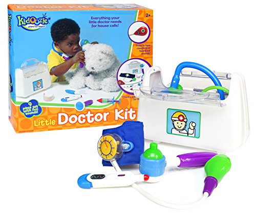 Kidoozie Little Doctor Kit - Includes Stethoscope, Blood Pressure Gauge, Reflex Hammer, Thermometer, Squeaking Syringe, Auriscope, Laryngoscope, Pretend Bandage, and Bag - Ages 12 Months And Up (Blood Pressure Kit For Kids compare prices)