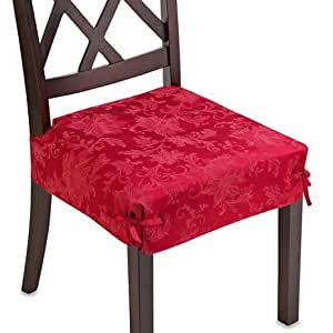Chair Slipcovers T Cushion Amazon.com - Holiday Joy Ruby Red Set of 2 Dining Room ...