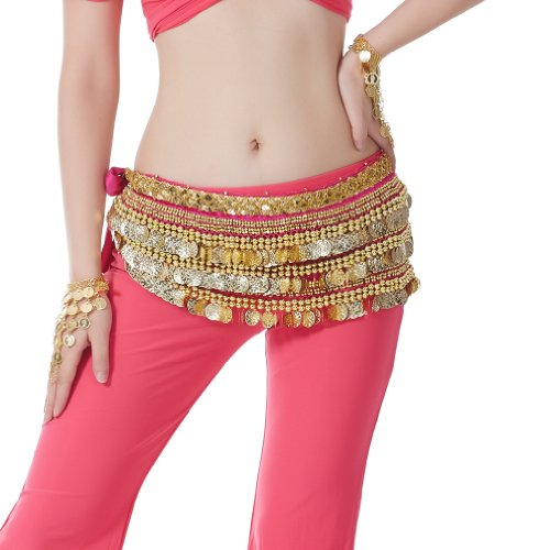 2015 Lovely Rose Red 338 Gold Chiffon Coins Belly Dance Hip Scarf gift costume