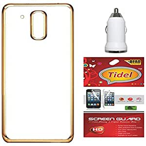 Tidel Golden border Soft Flexible TPU Back Cover for Moto G Plus 4th Gen (G4)- Gold With Screen Guard & Car Charger Adapter