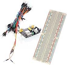Neuftech® 3 en 1 protoboard 830 Contactos Breadboard + Breadboard alimentación módulo adaptador 3.3V 5V compatible MB-102 + 65 pcs cables Jumper para Arduino