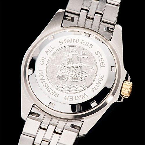 Gigandet Automatik Herren-Armbanduhr Sea Ground Taucheruhr Uhr Datum Analog Edelstahlarmband Schwarz Gold G2-016 6