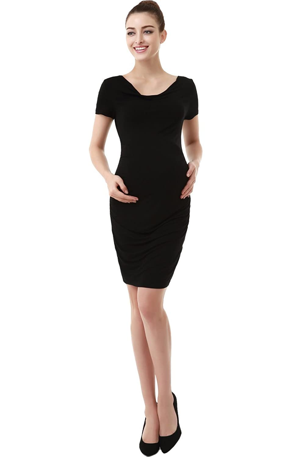 Momo Maternity Kate Cowl Neck Ruched Midi Dress momo xuhaoying 009