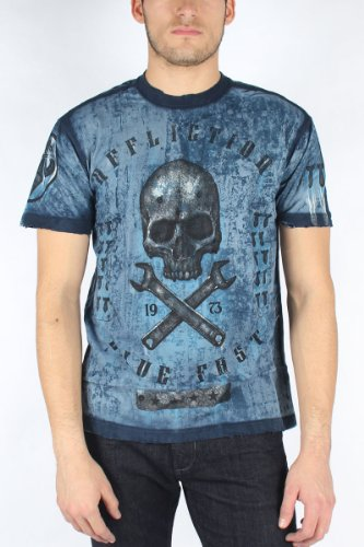 Affliction - Mens On The Tracks Crewneck T-Shirt In Navy Seam Wash, Size: Small, Color: Navy Seam Wash