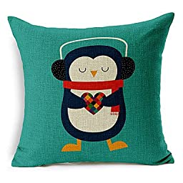 ANDP 8/29 Colorful Balloon Listen to the penguin of the music Patterned Cotton/Linen Decorative Pillow Cover