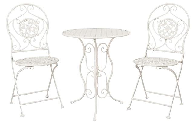 Clayre & Eef 5y0189giardino tavolo sedie da giardino tavolo con due sedie Bianco ca. Ø 60x 70cm/2X Ø 40x 40x 92cm